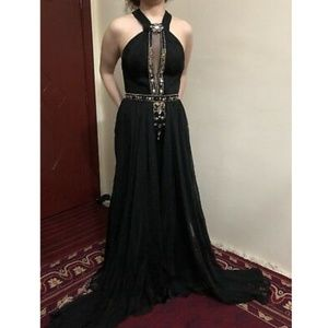 Black satin and chiffon pageant prom dress gown 6